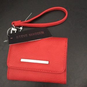 Steve Madden Red Textured French Wristlet Wallet